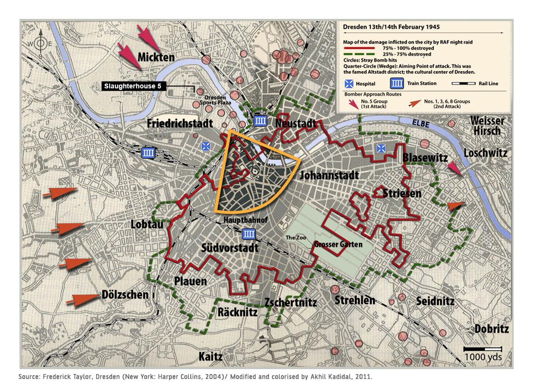 Dresden Firebombing Map