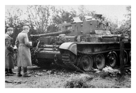 Germans inspect the Cromwell which was knocked out while probing north of the farmhouse at Point 213.
