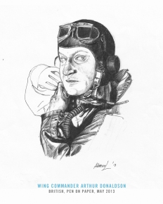 One of three brothers who served in the RAF during the war, Arthur Hay Donaldson (Jan 1915-Oct 1980), was commissioned in March 1934 as a Pilot Officer and spent the pre-war years in relative idyllic circumstances, flying biplane fighters. By when war broke out, he was a Flying instructor, and largely missed the Battle of Britain. In January 1941, however, he joined 242 Squadron, under the famed legless ace, Douglas Bader and obtained some valuable combat experience. But the lessons came at no mean cost. On June 14, by now commanding his own squadron (No. 263), he and other pilots raided Querqueville airfield in Nazi-occupied France. Donaldson's fighter was hit by flak and he was nearly killed, but he returned to England and despite the gravity of his wounds, made a swift recovery. On 13 October 1942, he was wounded again, this time over Sicily. His cockpit splotched with blood, he just managed to return to Malta and crash-landed. The severity of injuries to his hands earmarked him for evacuation — his command of the Takali Wing on Malta concluded; his total tally standing at five victories. He later commanded a fighter station in England and trained Spitfire pilots to attack V-2 launch sites in Europe. Later commands included a stint in the Far East in 1945 — an episode cut short after he contracted Malaria and had to be repatriated to England. He retired from the RAF in 1959 and in his later years, managed a village shop and a sub-post office in Melbury Osmond near Dorchester.