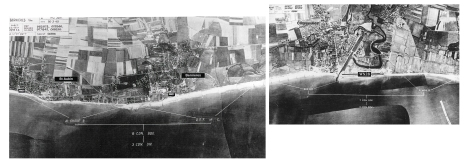 "Aerial photos of Juno Beach from ""Nan"" to ""Mike"" sectors."