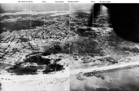 "A reconnaissance aircraft photograph of ""Utah"" beach on the morning of D-Day. The image annotated and was turned into a two-page spread published in Gordon Harrison's Cross-Channel Attack, pg 306-307, published by the Department of the Army in 1951."